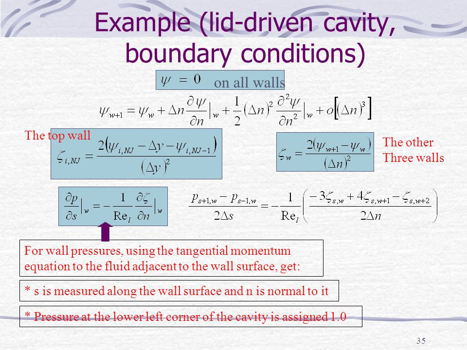 Example (lid-driven cavity, boundary conditions)