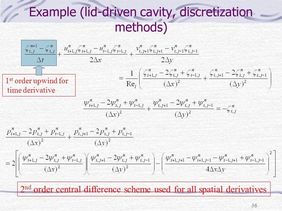 Example (lid-driven cavity, discretization methods)