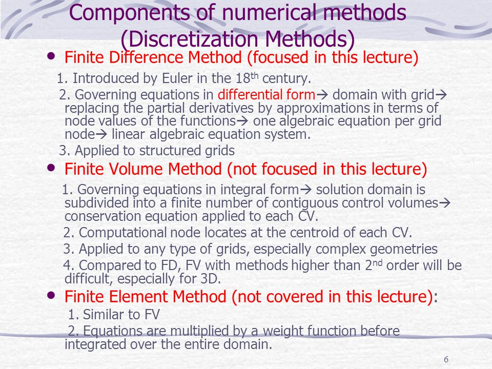 Components of numerical methods (Discretization Methods)