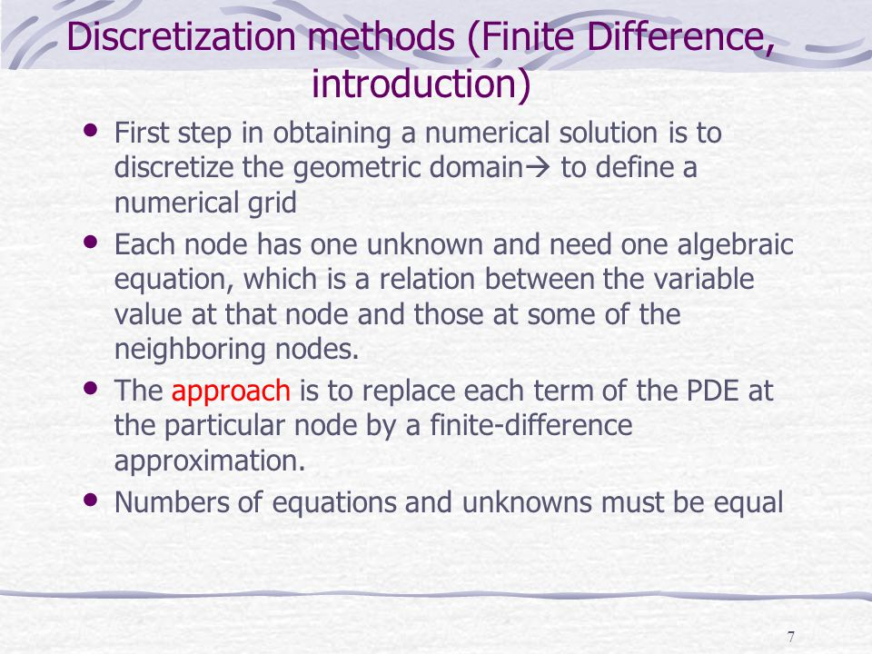 Discretization methods (Finite Difference, introduction)