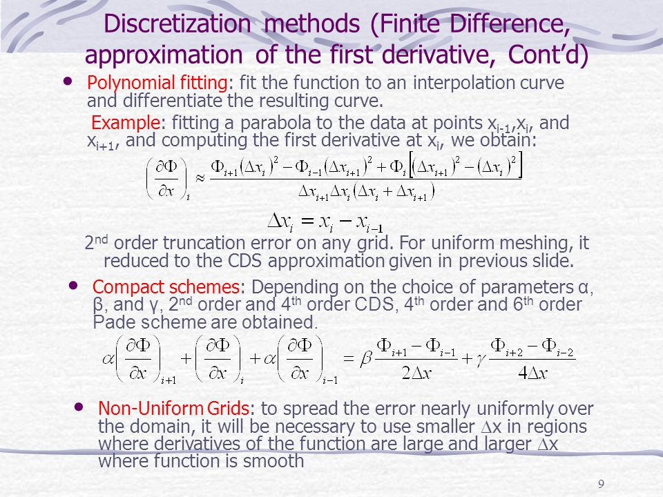 Discretization methods (Finite Difference, approximation of the first derivative, Cont'd)
