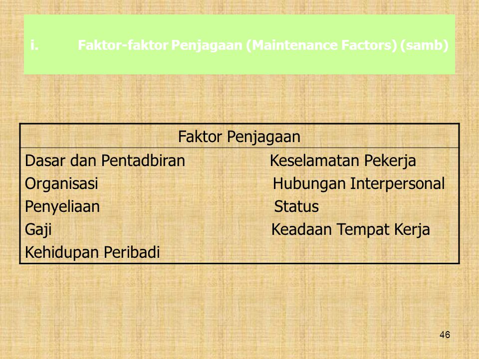 Faktor-faktor Penjagaan (Maintenance Factors) (samb)