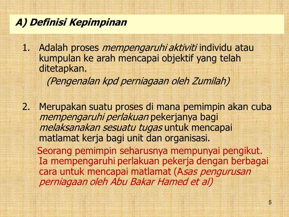 A) Definisi Kepimpinan