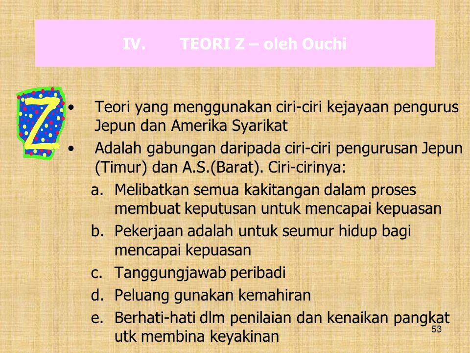 TEORI Z – oleh Ouchi Teori yang menggunakan ciri-ciri kejayaan pengurus Jepun dan Amerika Syarikat.