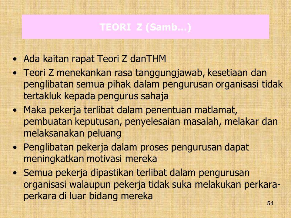 TEORI Z (Samb…) Ada kaitan rapat Teori Z danTHM.