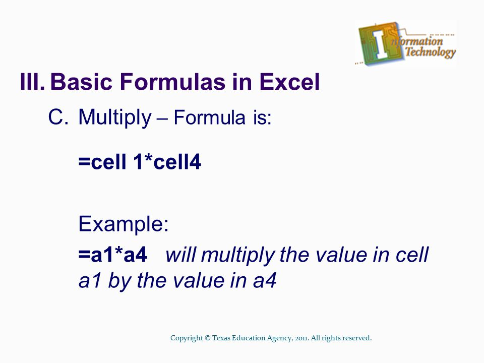 III. Basic Formulas in Excel