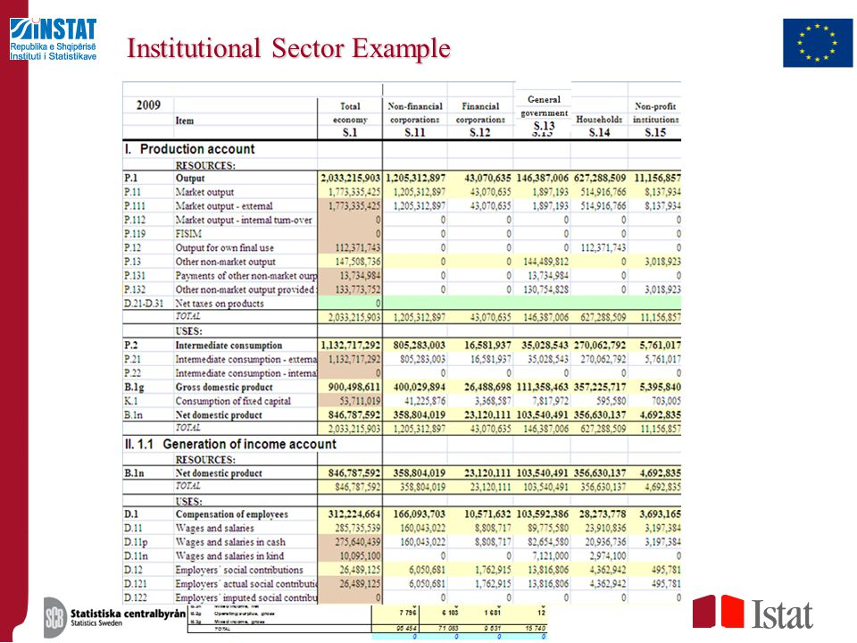 Institutional Sector Example