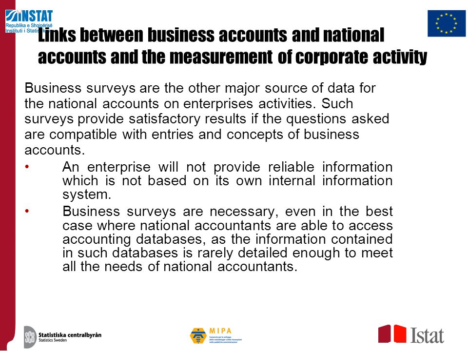 Links between business accounts and national accounts and the measurement of corporate activity