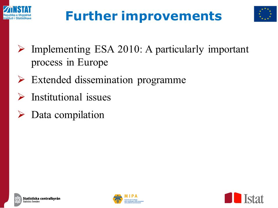 Further improvements Implementing ESA 2010: A particularly important process in Europe. Extended dissemination programme.