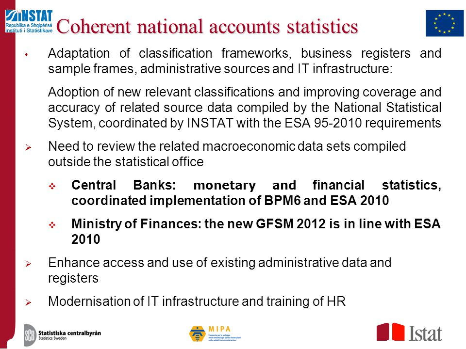 Coherent national accounts statistics
