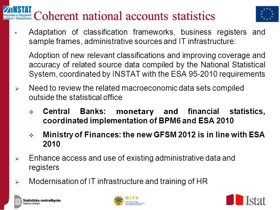 Coherent national accounts statistics
