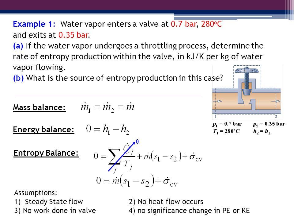 Example 1: Water vapor enters a valve at 0.7 bar, 280oC