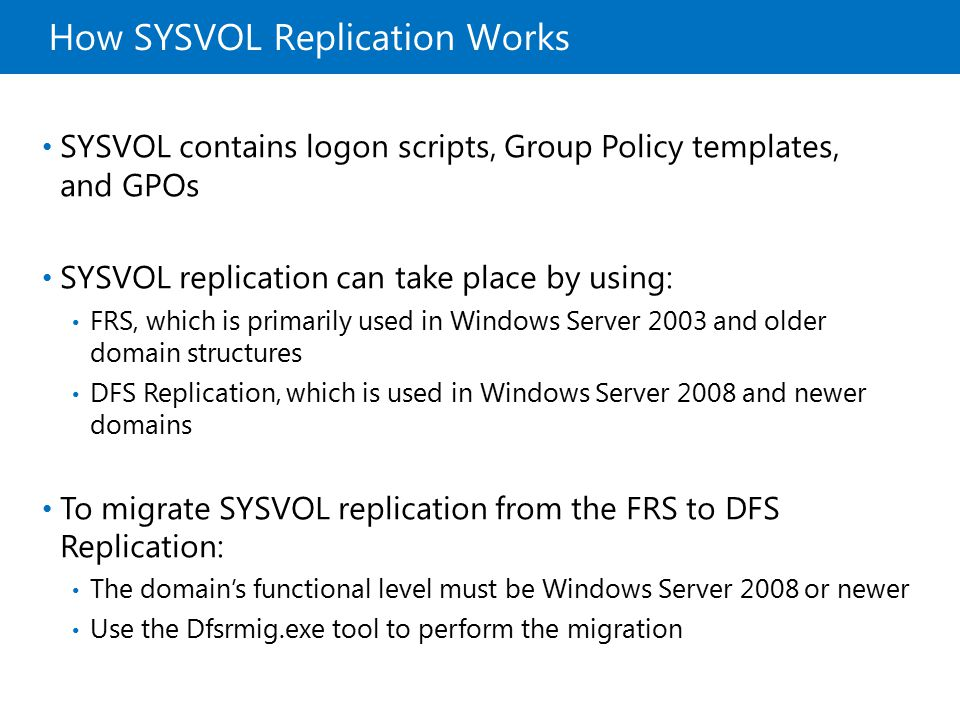 How SYSVOL Replication Works