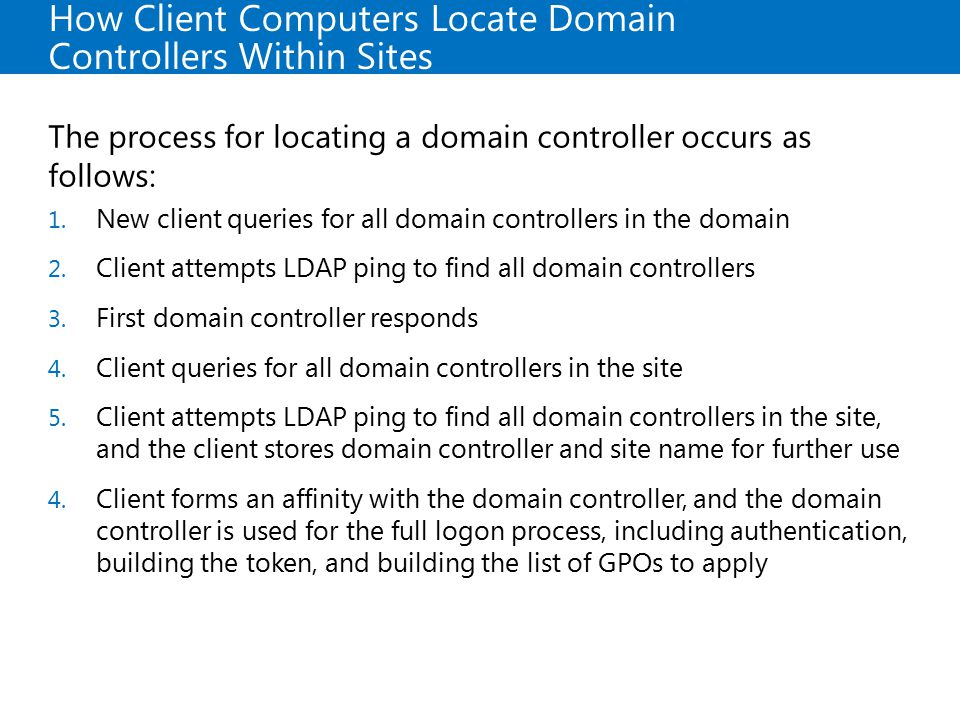 How Client Computers Locate Domain Controllers Within Sites