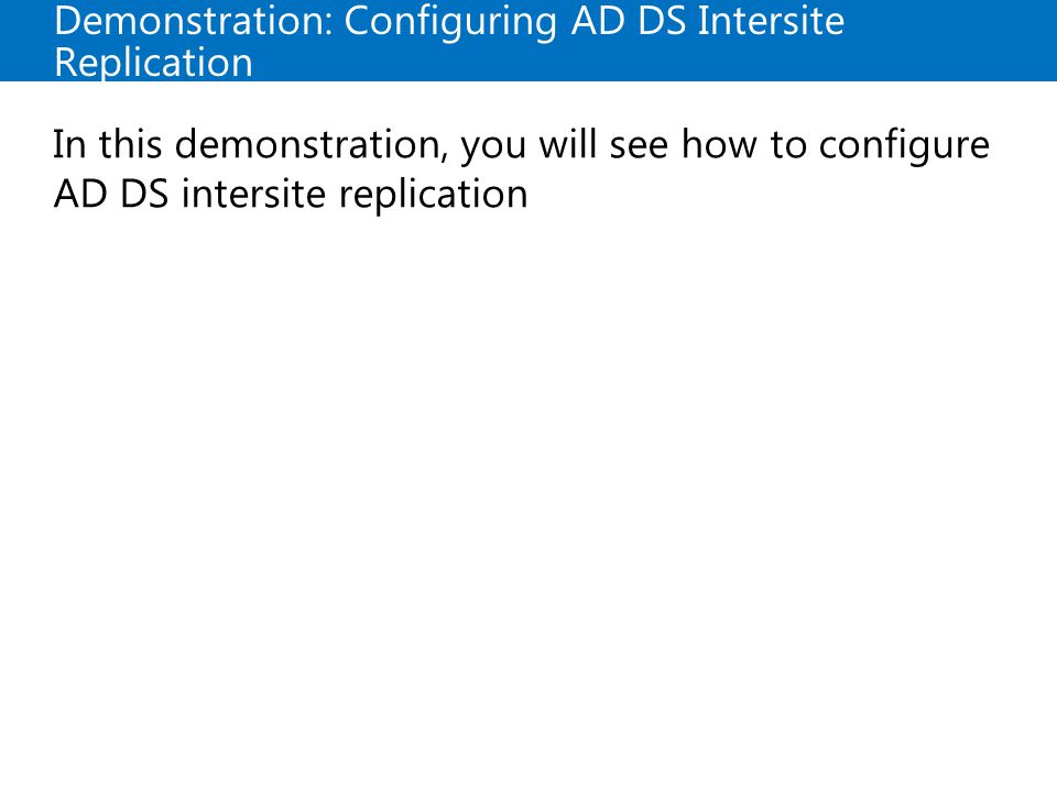 Demonstration: Configuring AD DS Intersite Replication