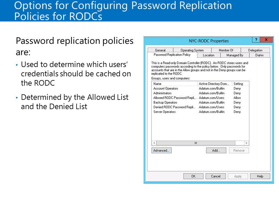 Options for Configuring Password Replication Policies for RODCs