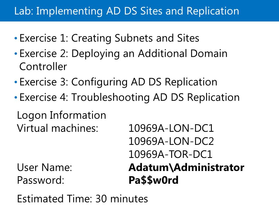 Lab: Implementing AD DS Sites and Replication