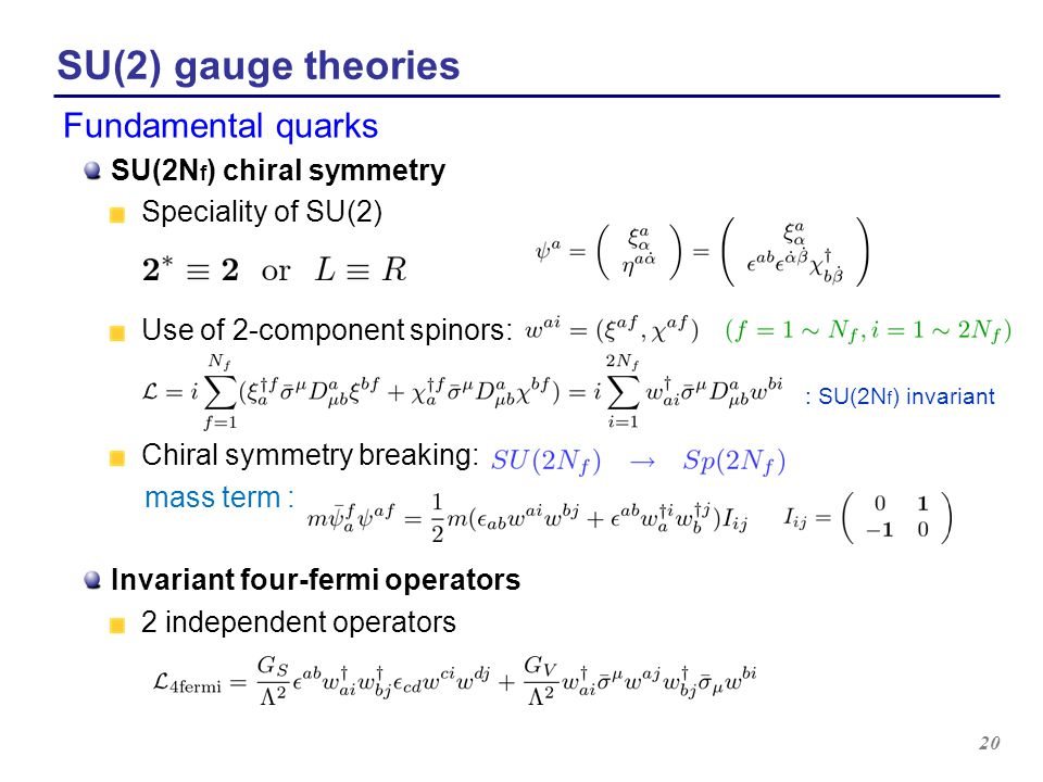 SU(2) gauge theories Fundamental quarks SU(2Nf) chiral symmetry
