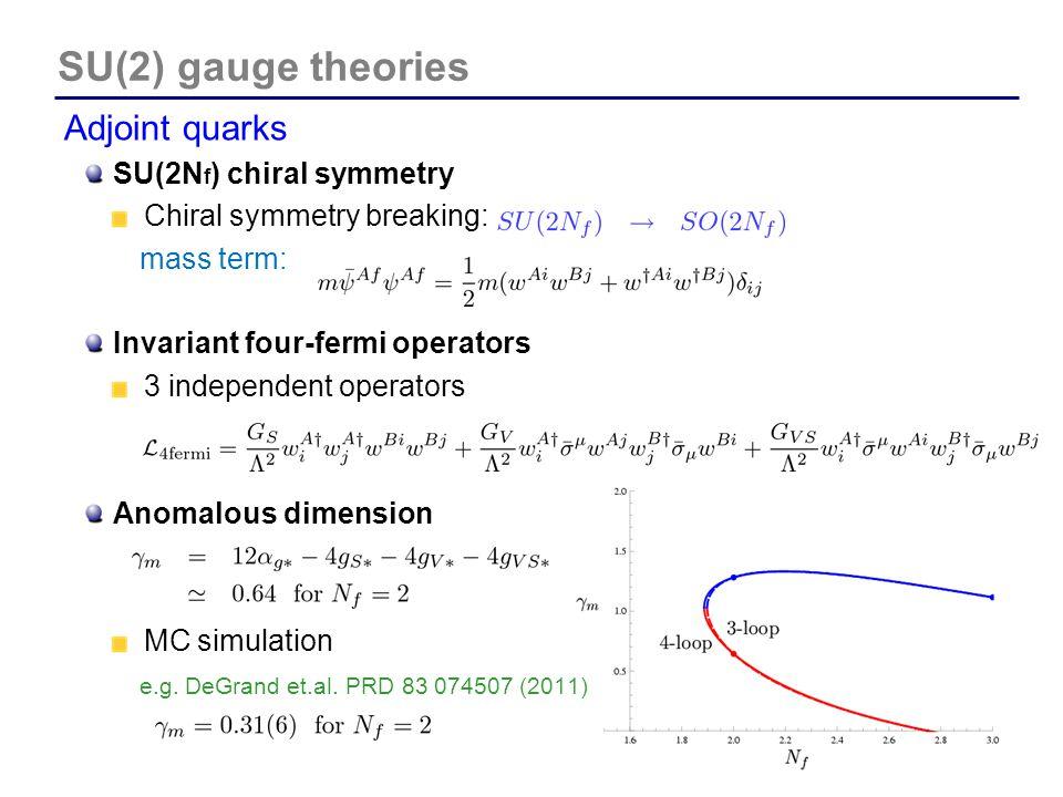 SU(2) gauge theories Adjoint quarks SU(2Nf) chiral symmetry