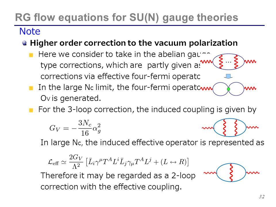 RG flow equations for SU(N) gauge theories