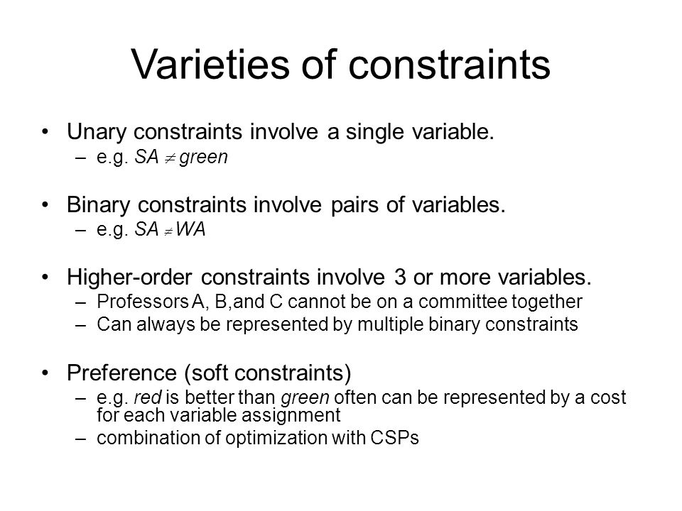 Varieties of constraints