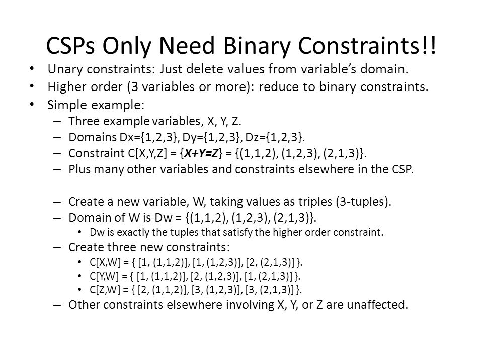 CSPs Only Need Binary Constraints!!