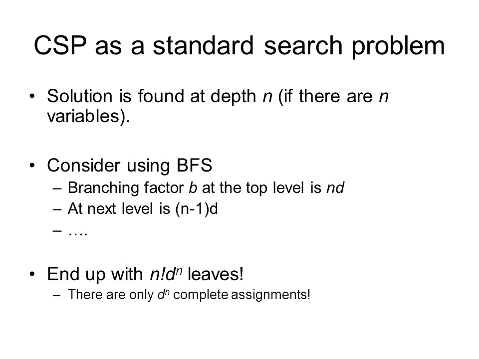 CSP as a standard search problem