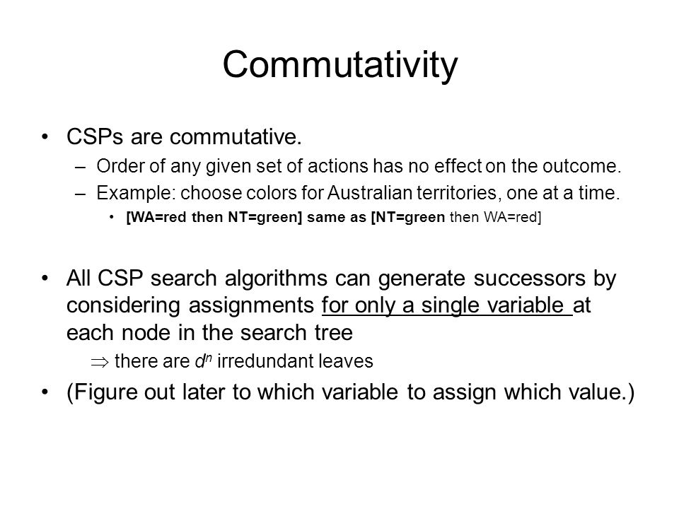 Commutativity CSPs are commutative.