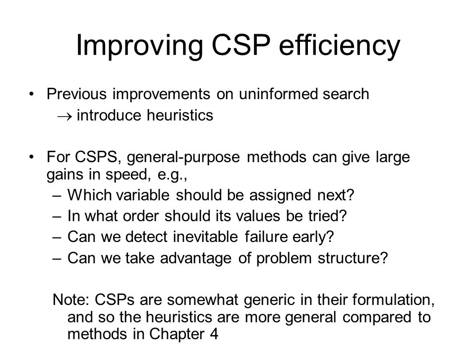 Improving CSP efficiency