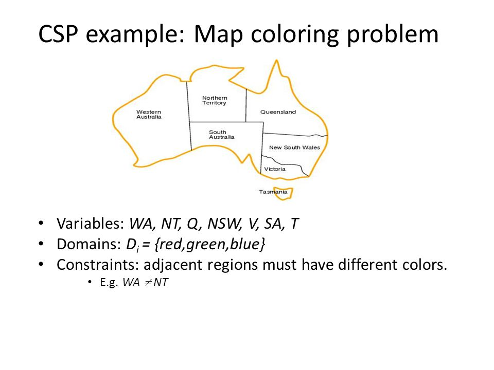 CSP example: Map coloring problem