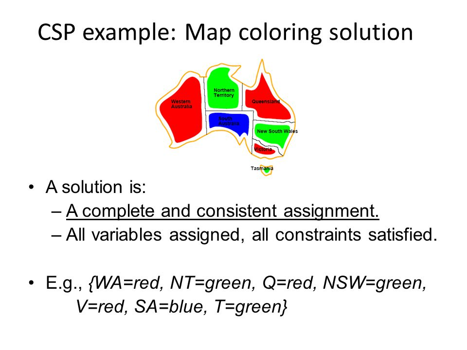 CSP example: Map coloring solution