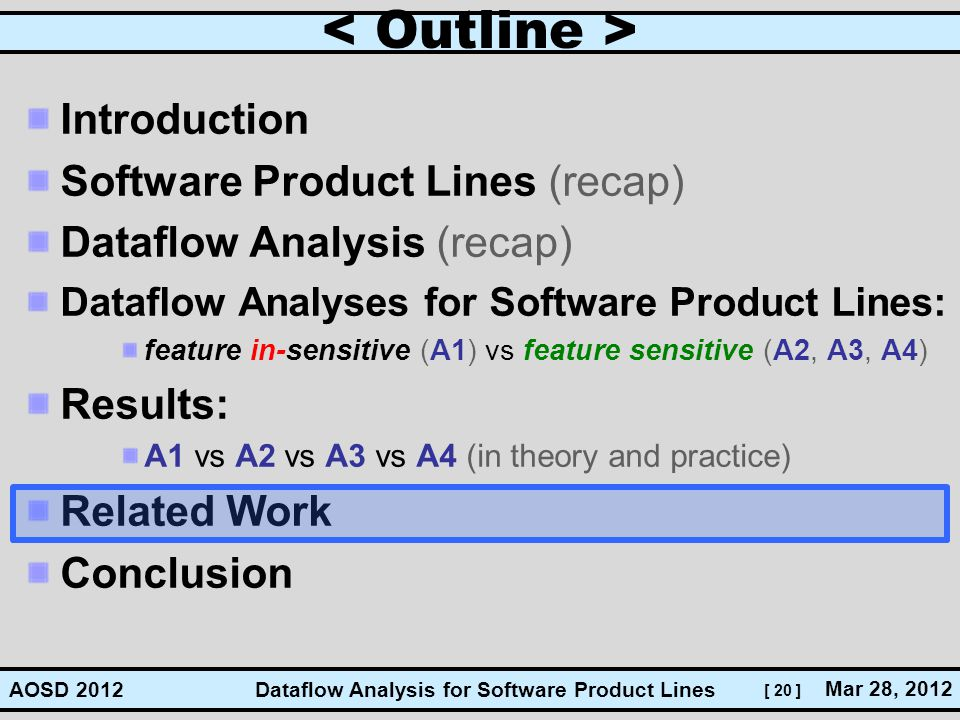 < Outline > Introduction Software Product Lines (recap)