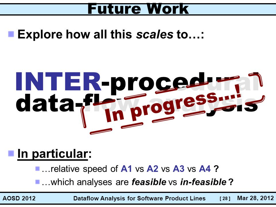 INTER-procedural data-flow analysis In progress...! Future Work