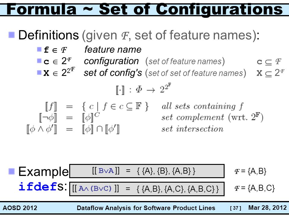 Formula ~ Set of Configurations