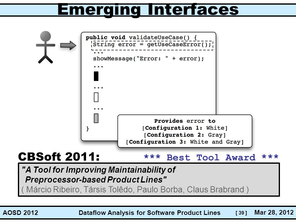 Emerging Interfaces CBSoft 2011: *** Best Tool Award ***