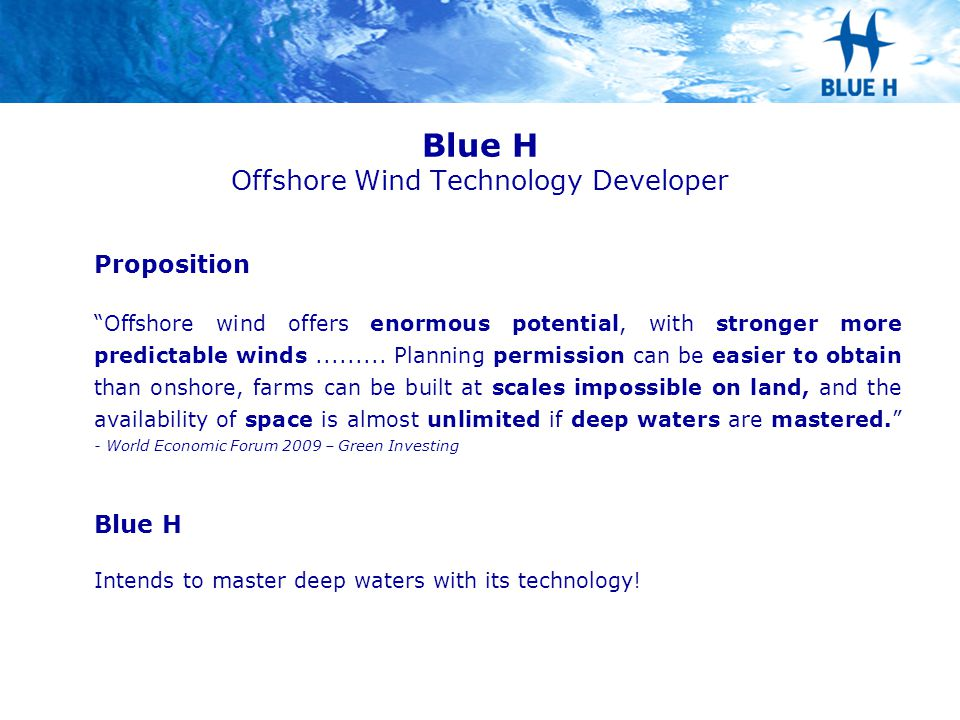 Blue H Offshore Wind Technology Developer