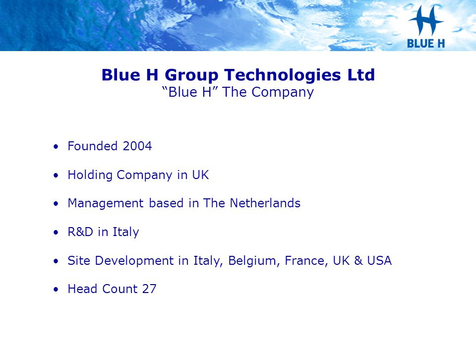 Blue H Group Technologies Ltd Blue H The Company