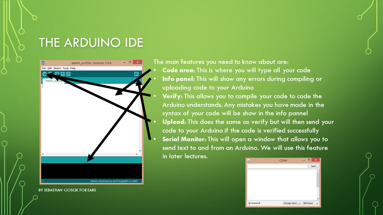 The Arduino IDE The main features you need to know about are: