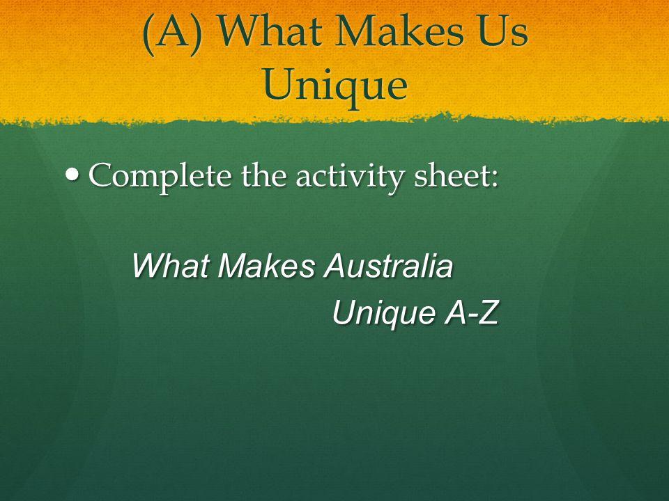 (A) What Makes Us Unique