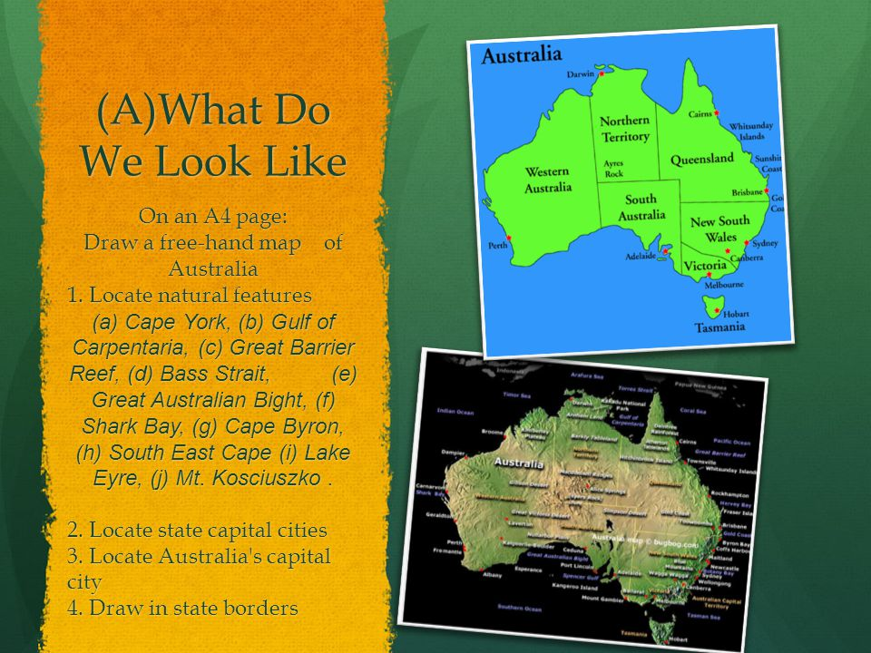 Draw a free-hand map of Australia