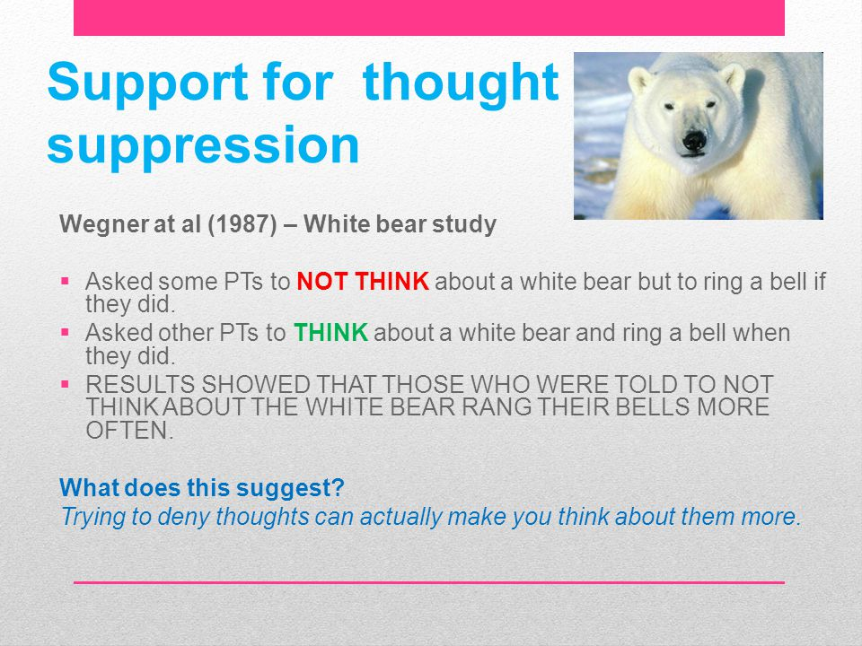 Support for thought suppression