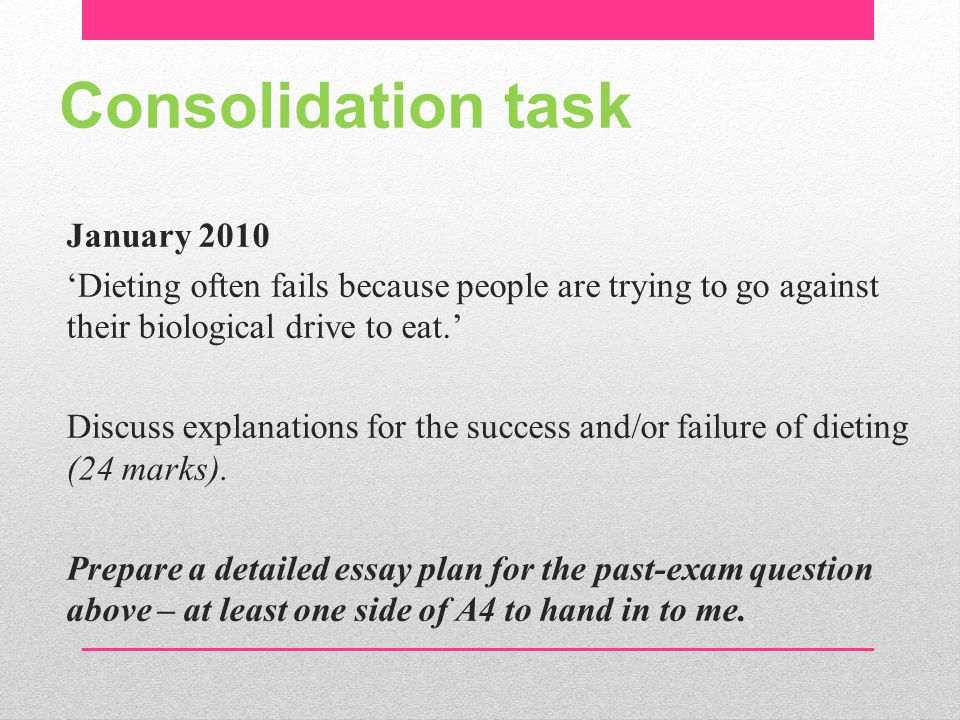 Consolidation task
