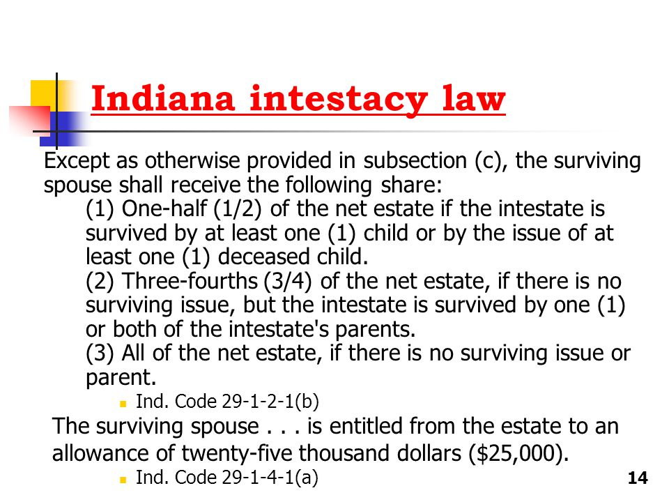Indiana intestacy law