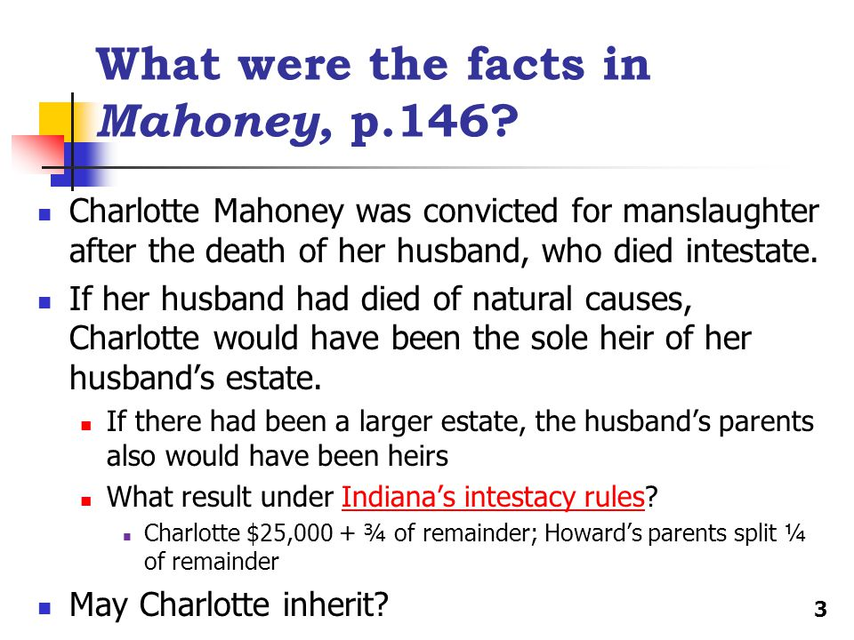 What were the facts in Mahoney, p.146