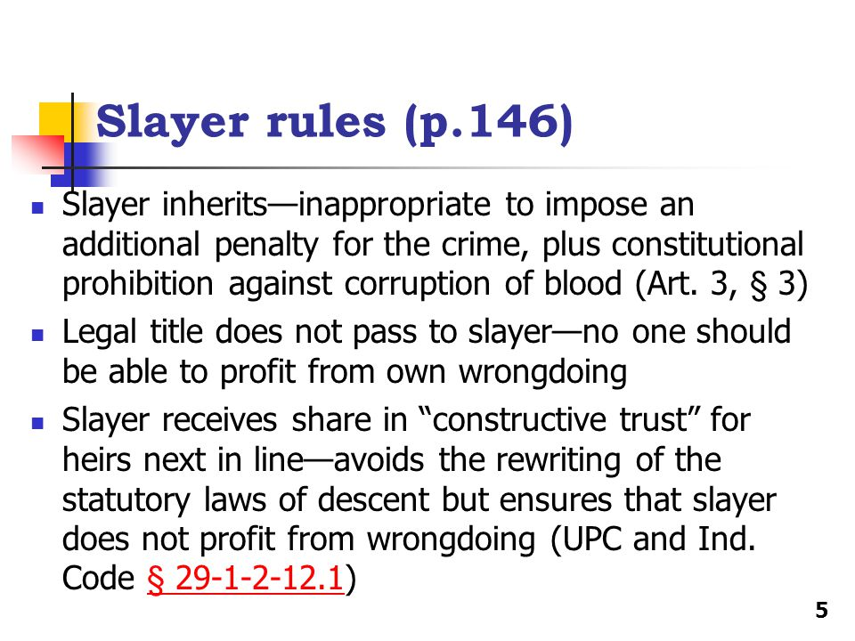 Slayer rules (p.146)
