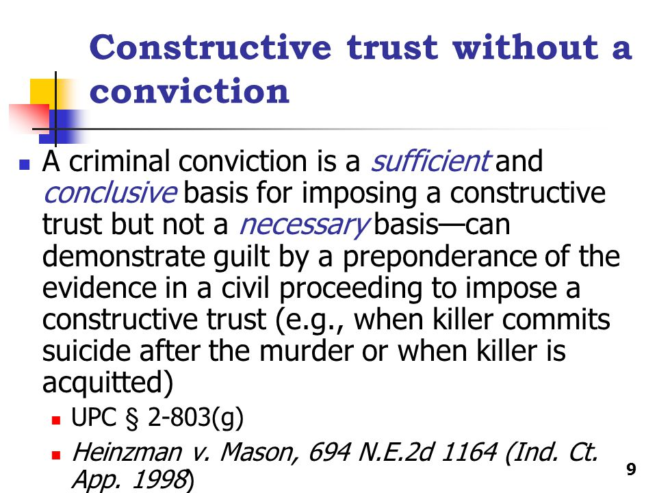 Constructive trust without a conviction