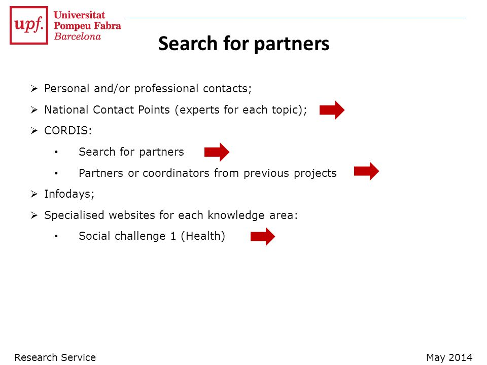 Search for partners Personal and/or professional contacts;