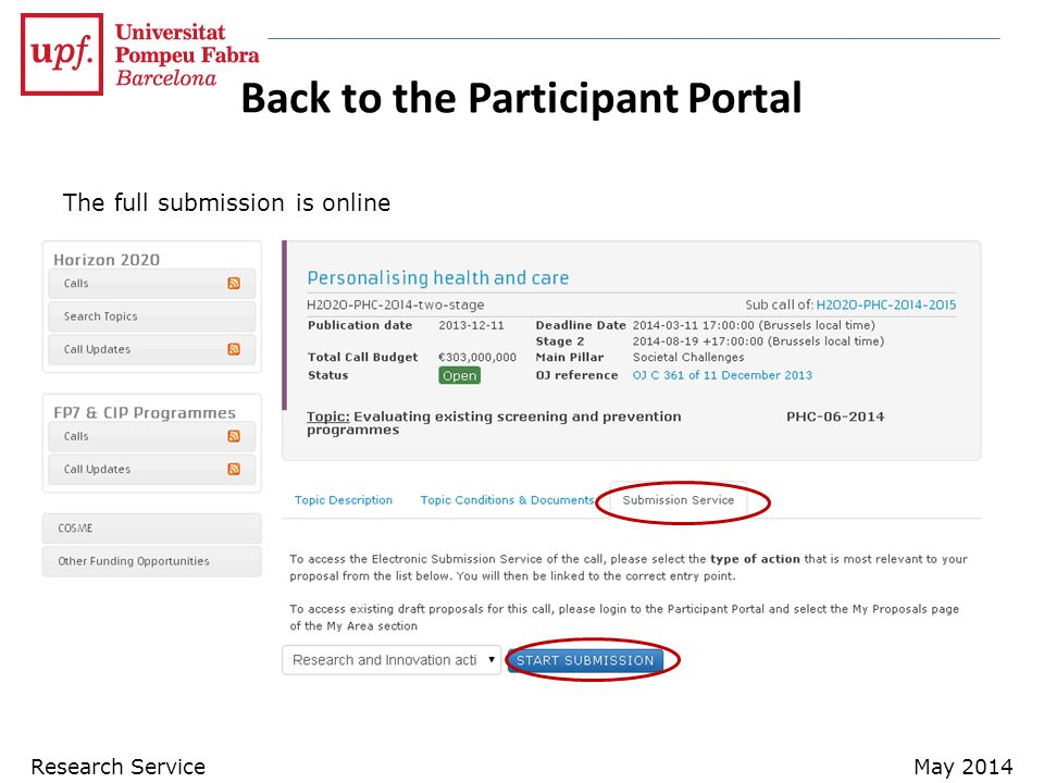 Back to the Participant Portal