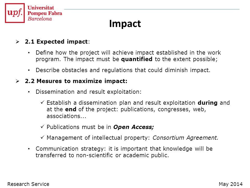 Impact 2.1 Expected impact: