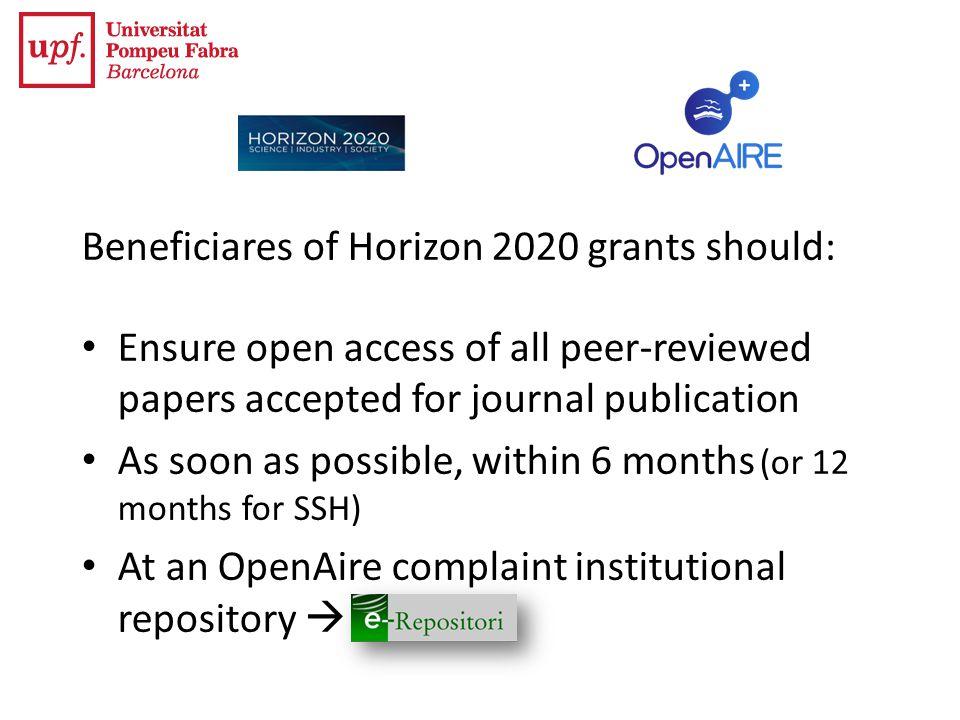 Beneficiares of Horizon 2020 grants should: